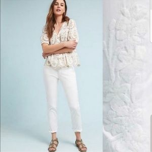 Anthropologie Relaxed Embroidered Chino Pants